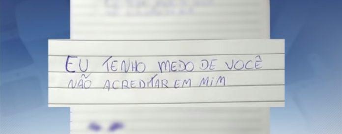 Bilhete escrito pela criança